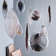 bird feathers in clear glass ornaments - absolutely genius. You bet I'll do this, but not with federally-protected feathers! :)