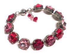 Rivoli Round Stone Red Pink Light Rose Bracelet with Crystals from Swarovski #HisJewelsCreationswithCrystalsfromSwarovski #BeadedCrystal