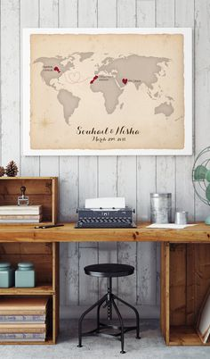 Wedding Map Guest Book Alternative with Your by MissDesignBerryInc
