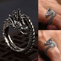 Adjustable Vintage Punk Dragon Ring Men Chunky Copper Alloy Biker Rock Rap Embrace Skeleton Head Ring Gothic Valentine's Day Gif Cute Jewelry, Jewelry Gifts, Jewelry For Men, Men's Jewelry Rings, Dragon Ring, Dragon Jewelry, Biker Rings, Accesorios Casual, Silver Dragon