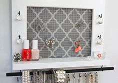 ON SALE - Jewelry Holder With A Shelf - Jewelry Organizer White Lacquer Finish With Grey Quatrefoil Fabric Background - Christmas Gift