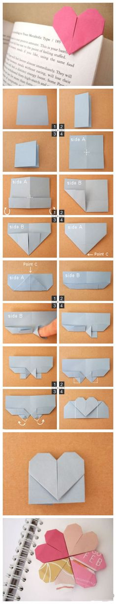 Very simple origami heart bookmark tutorial