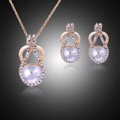 Woman plating silver gold chain necklace Crystal earrings CZ diamond imitation pearl pendant necklace ball drops jewelry Set♦️ SMS - F A S H I O N  http://www.sms.hr/products/woman-plating-silver-gold-chain-necklace-crystal-earrings-cz-diamond-imitation-pearl-pendant-necklace-ball-drops-jewelry-set/ US $3.31