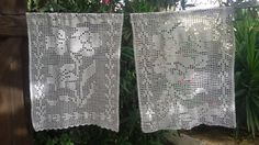 Pair of Vintage French Lace Valance - Hand crocheted Curtains. Cotton made. White window , or shelves valance . Size : Wide : 21 in. = 53.5 cm