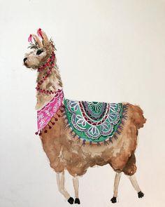 No photo description available. Painting and Drawing Alpacas, Watercolor Animals, Watercolor Paintings, Illustrations, Illustration Art, Llama Arts, Animal Art Projects, Llama Alpaca, Animal Drawings