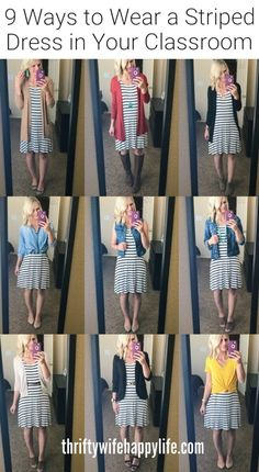 Back-to-School Teacher Outfits - Teacher Outfites- 9 Ways to Wear a Striped Dress in your classroom Source by bloomcoco - Cute Teacher Outfits, Teacher Dresses, Teacher Wear, Winter Teacher Outfits, Teaching Outfits, Summer Outfits, Elementary Teacher Outfits, School Teacher Style, Outfit For Teachers