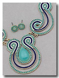 Mint Cobalt Blue navy STATEMENT NECKLACE EARRINGS SET deco santa fe aztec HOT