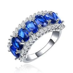 Royal-Blue-Sapphire-with-CZ-Engagement-Cocktail-Ring-in-925-Silver-Size-6-7-8