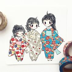 """11.2k Likes, 22 Comments - ✨theresa ✨ (@birduyen) on Instagram: """"#washitape commission for megan and her adorable sisters ^o^!! if you order a washi tape commission…"""""""
