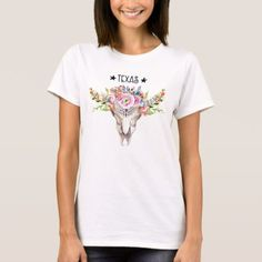Texas Boho Cow Skull With Flowers Chic Trendy T-Shirt