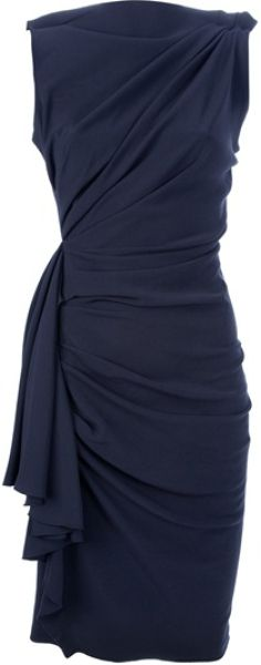 Lanvin Draped and Gathered Fitted Dress in Black | Lyst