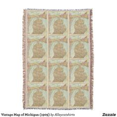Vintage Map of Michigan (1909) Throw Blanket