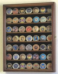 Small Military Challenge Coin Display Case Cabinet - Walnut