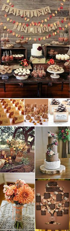 17 Ideas for wedding themes fall ideas decor Wedding Themes, Diy Wedding, Dream Wedding, Wedding Decorations, Fall Decorations, Candy Table, Dessert Table, Perfect Day, Festa Party
