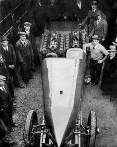 Feb. 18, 1928: Ray Keech of Atlantic City posed alongside his 36-cylinder triplex, with which he hoped to break the world's land speed record. He succeeded on April 22, beating the record with a speed of 207.55 miles per hour at Daytona Beach, Fla. His record held till March 1929, when it was exceeded by Maj. H.O.D. Seagrave in his car, the Golden Arrow. Not long after, Mr. Keech was killed in a four-car accident during a race in Altoona, Pa.