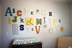 alphabet letter display from variety of sources: Michaels, Pottery Barn Teen, Anthropologie, Joanns, Kohls, Etsy, Pier 1, and more.