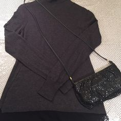Simply Vera, Vera Wang Sweater Lightweight cotton/nylon blend turtleneck sweater. Grey color. Size med.  Black Sheer bottom adds to the sweater. ❤️❤️ Simply Vera Vera Wang Sweaters Cowl & Turtlenecks