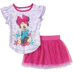 Minnie Mouse Toddler Girls' Flutter Sleeve Tee and Skirt Outfit Set - Walmart.com