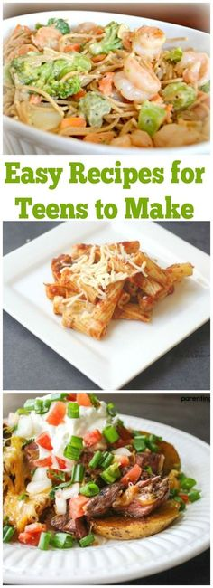 Dinner Recipes for beginners Easy Recipes for Teens To Cook at Home Need some dinner ideas for your teen to make? These easy dinners for teens are perfect for teens taking over dinner night. Easy recipes for teens to make Lunch Recipes, Easy Dinner Recipes, Appetizer Recipes, Breakfast Recipes, Easy Meals, Healthy Recipes, Dinner Ideas, Appetizers, Healthy Meals