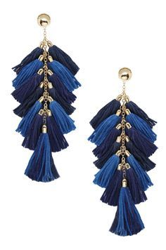 0325089a605a9 Time to Tassel Earrings in Navy and Gold | my pins | Navy earrings ...