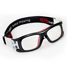 EVERSPORT Adults Sports Goggles Protective Safety Basketball Glasses with Adjustable Strap Eyewear for Basketball Football Volleyball Hockey Rugby1603 (Black&red): Amazon.co.uk: Sports & Outdoors