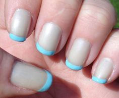 Blue french gelish manicure
