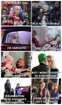 "Sing it to the tune of ""I'm A Barbie Girl"" and it's hilarious. Harley Quinn and The Joker, Suicide Squad << why wouldn't you sing it? Joker Frases, Joker Y Harley Quinn, Der Joker, Funny, Hilarious, Moorim School, Harely Quinn, Prince Charmant, Univers Dc"
