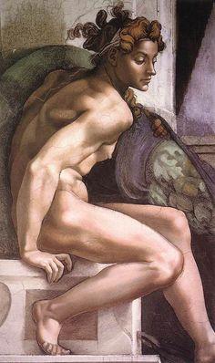 Michelangelo Buonarroti, Ignudo (detail) 1509, Cappella Sistina, Vatican City, Vatican, Painting, Fresco