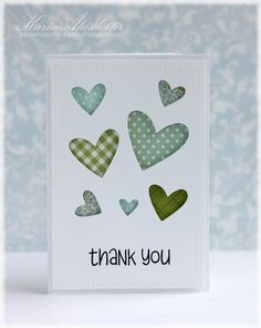 Thank you card. Lawn Fawn - Hearts Dies, So Much to Say _ cute die cut card by Karin for Lawnscaping Challenge: Lawnscaping Challenge: Patterned Paper sponsored by Simon Says Stamp Handmade Thank You Cards, Greeting Cards Handmade, Die Cut Cards, Love Cards, Cute Thank You Cards, Card Making Inspiration, Making Ideas, Karten Diy, Cricut Cards