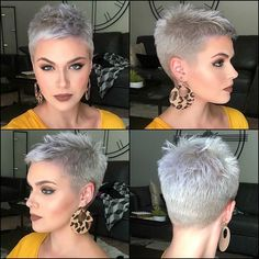 Weiße kurze Frisuren - New Site Penteados curtos brancos - - Frisuren Short Grey Hair, Short Hair Cuts For Women, Short Hairstyles For Women, Trendy Hairstyles, Pixie Hairstyles, Prom Hairstyles, Ladies Hairstyles, Workout Hairstyles, Hairstyles Videos