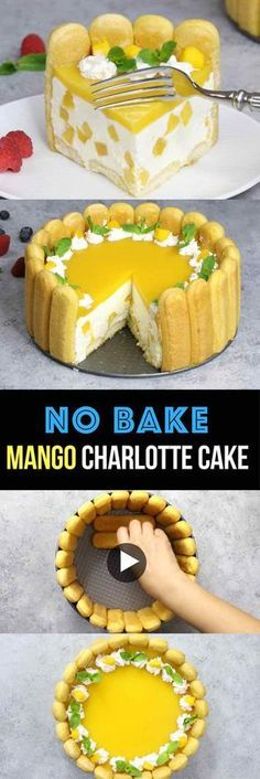 No Bake Mango Charlotte Cake – the most beautiful and unbelievably delicious mango cheesecake. All you need is some simple ingredients: mango juice, ladyfingers, cream cheese, sugar, whipped cream…More Make Ahead Desserts, No Bake Desserts, Just Desserts, Delicious Desserts, Yummy Food, Baking Desserts, Mango Cheesecake, Cheesecake Recipes, Cake Cookies