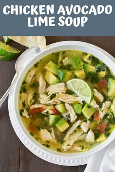 Chicken Avocado Lime Soup-*Must serve with tortilla chips on the side. Chicken Avocado Lime Soup-*Must serve with tortilla chips on the side. Keto Orange Chicken Low Carb Recipe for Ketogenic and Sugar Free Diet Chicken Avocado Lime Soup Chicken Avocado Soup, Chicken Tortilla Soup, Chicken Soup Recipes, Lime Chicken, Healthy Soup Recipes, Beef Recipes, Easy Recipes, Chicken Chunks, Dinner Recipes