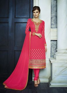 Straight Cut Style Pink with Mirror Work Incredible Unstitched Salwar Kameez