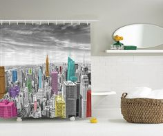 Shower Curtain NYC New York Scenic City Panoramic Picture Printing Waterproof Mildewproof Polyester Fabric Bath Curtain Set #Affiliate