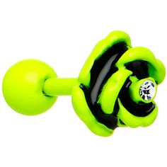 Crystalline Gem Light Green Neon Black Enamel Rose Cartilage Earring #bodycandy #cartilage #neon $6.99