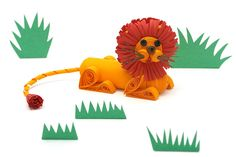 Quilled lion - Sample 3D quilling miniature