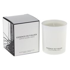 Essence De Figuier Scented Candle - 190g Kitchen Candles, Herve, Scented Candles, Packaging Design, Luxury Homes, Candle Holders, Fragrance, Floral, Gifts
