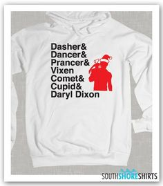Christmas Reindeer Names Daryl Dixon TWD by SouthshoreShirts, $27.99