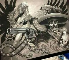 Chicano y aztec Chicano Drawings, Art Drawings, Art Sketches, Villa Y Zapata, Joker Kunst, Aztec Drawing, Mexican Artwork, 4 Tattoo, Tattoo Pics