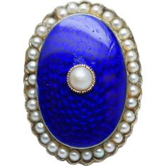 Antique Victorian Pearl & Blue Enamel Ring in 14k Yellow Gold  found at www.rubylane.com @rubylanecom