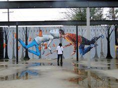 Graveto vermelho, em Baton Rouge, Luisiana. Em colaboração com Seth Globepainter para o Museu de Arte Pública.   27 street art tão grandes que nunca caberiam em uma galeria