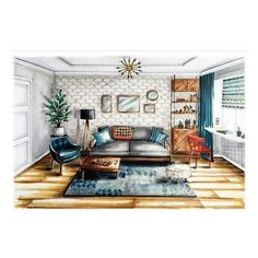 Are you looking to brighten up a dull room and searching for interior design tips? Interior Architecture Drawing, Interior Design Renderings, Drawing Interior, Interior Rendering, Interior Sketch, Interior And Exterior, Architecture Design, Classical Architecture, Sketches Arquitectura