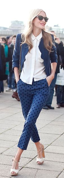 Blue suit - White Blouse and Polka dots - Cute!