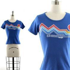 vintage 80s T shirt / ski Colorado graphic 50-50 T by AsburyHill