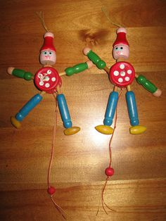 wooden jumping jack toy image | 1960's Wooden Jumping Jack Ornaments/Toys by MbellishVintage