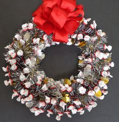 Tootsie Roll Candy Wreath Edible Chocolate Unique Gift Decoration Party Client Present Holiday Centerpiece 11 inch