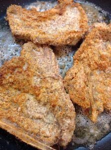 Almond flour fried pork chops **used for deer steak. Kids LOVED it!!