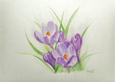 NOT A PRINT Original Watercolor Spring crocus by DaryaIsraelyanArt, €80.00