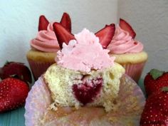 Strawberry Surprise Cupcakes - a fresh strawberry baked into the cupcake looks just like a little heart!