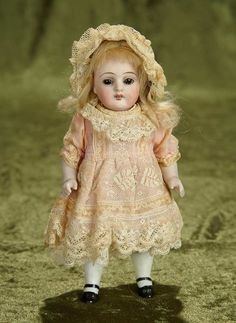 """7"""" German all-bisque miniature doll, model 257, by Kestner in pretty lace dress 200/400"""